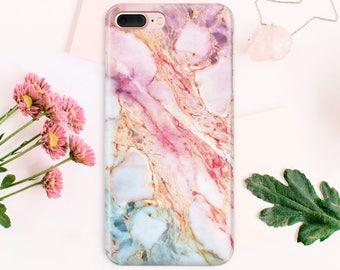 Full Wrap Marble Phone Case  Samsung Galaxy S8 Case Samsung S6 Edge Plus iPhone 8 iPhone 6S Case iPhone 7 Plus Rose Marble Phone Case CA1401