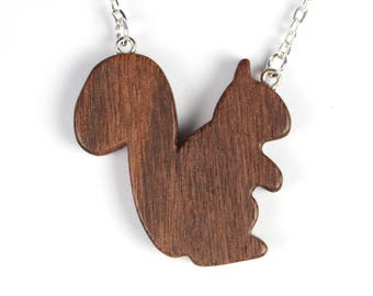 Woodland Squirrel Necklace, Wood Squirrel Pendant, Wooden Animal Jewelry, Hand Cut Scroll Saw, Walnut