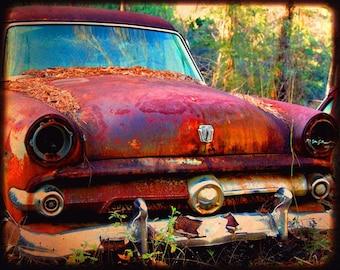 Garage Art - Car Art - Rusty Old Car - Ford - Miss Violet