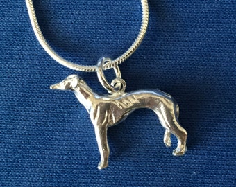 Greyhound /Lurcher pendant and snake chain sterling silver