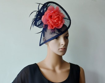 Navy/coral special shape sinamay fascinator with silk flower and feather flower,for party/wedding/races