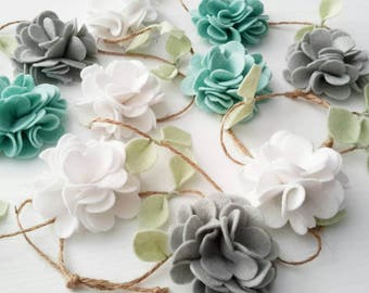 White, Mint and Grey Felt Flower Garland, Floral Garland, Home and Nursery decor, Wall hanging, Wedding/ Party decor, Baby Shower decor.