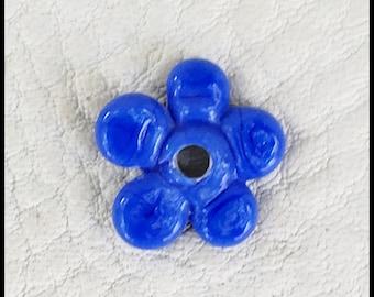 Perwinkle Blue Handmade Lampwork Violet Flower by MMB SRA #U5