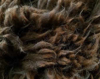 Alpaca Raw Fleece Huacaya chocolate brown