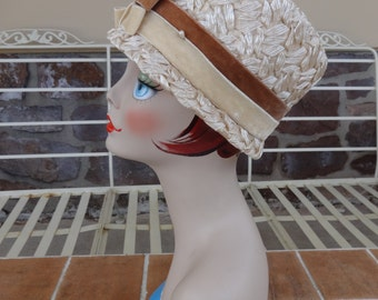 vintage womens hat cellophane 1950's white tan rockabilly retro millinery bucket