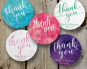 Thank You Labels, Wedding Favor Stickers / Labels, Watercolor Favor Labels, Custom Round Favor Labels, Mason Jar Labels, Watercolor stickers