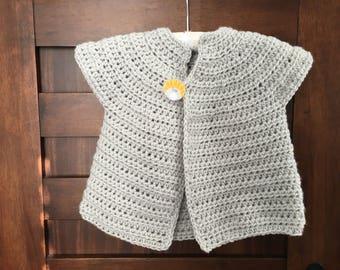 Cap Sleeve Sweater, soft gray