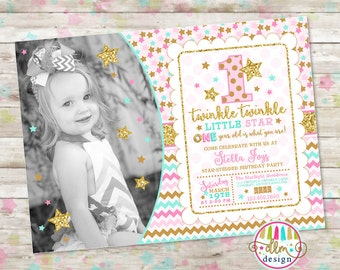 Twinkle Twinkle Little Star Invite, Pink Mint Gold, ONE, turning 1, Star Birthday Theme, Twinkle Little Star Birthday, Printable Invitation