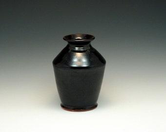 """7"""" Black Hand-thrown Stoneware Vase"""