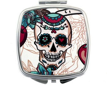Red and Teal Green Day of the Dead Skull Metal Compact Mirror