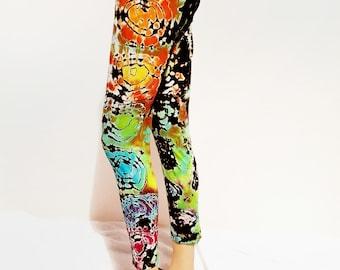 Tie dye rainbow leggings pants alternative fashion bright boho yoga festival comfy unique gym punk rock boho clothing