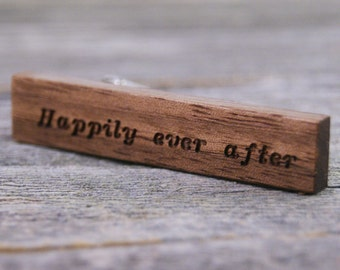 Groom Wedding Gift - Walnut Tie Clip Engraved with Happily Ever After
