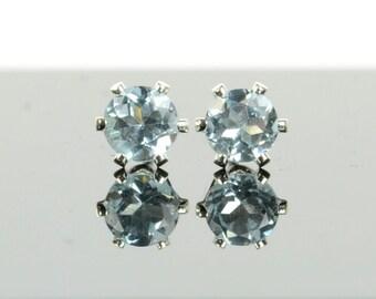 Sky blue topaz earrings, sterling silver and blue topaz studs, 3mm or 4mm blue gemstone earrings, December birthstone jewellery gift for her