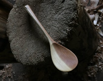 """9"""" cooking spoon, soup spoon, all in one bushcraft spoon, hand carved wooden spoon"""