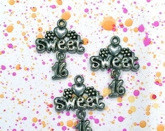 Sweet 16 W/ hanging Flower  - 4 pieces-(Antique Pewter Silver Finish)