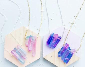 Triple Titanium Quartz Necklace
