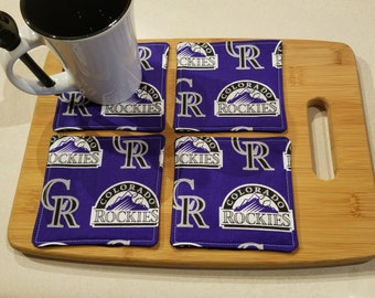 Quilted Fabric Coasters - Colorado Rockies Fabric with Black on Reverse - Set of 4