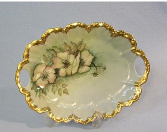 Vintage Porcelain Serving Plate with Handles, Genuine Gold Edges, Hand Painted, Signed by Artist, Purchased in Japan 1960