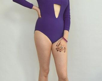 Purple bodysuit Cutout bodysuit Purple leotard Plunge leotard V neck bodysuit Long sleeve body Purple body Pull on leotard