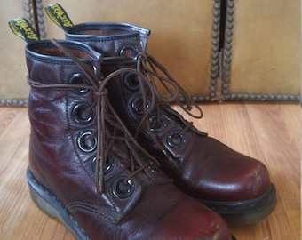 90s Doc Martin ox blood / burgundy Dr Martins rare large 5 hole leather air wear boots
