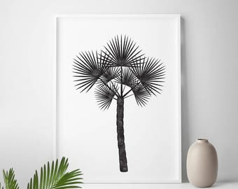 Black and white tropical print, tropical home decor, tropical decor, tropical wall art, palm leaf, palm tree print, palm print, summer print