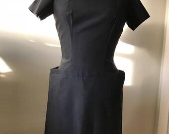 Black Wiggle Dress / Vintage Mad Men Style Wiggle Dress