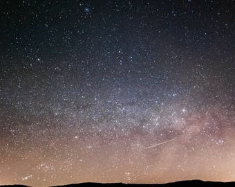 "Star Photography, Shooting Star, Blue Ridge, Appalachian, Shenandoah, Virginia - 12x12, 8x8 or 5x5 photograph, ""Light Over Virginia"""