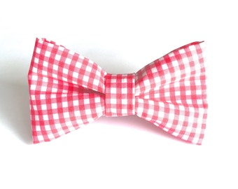 Hot Pink Check Dog Bow Tie