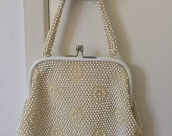 Vintage cream color Corde Bead handbag / 50s / beaded purse