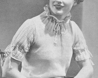 Vintage 1930s Sweater Softie Junior Drawstring Neck and Sleeve 30s Sweater Knitting Pattern PDF 3708