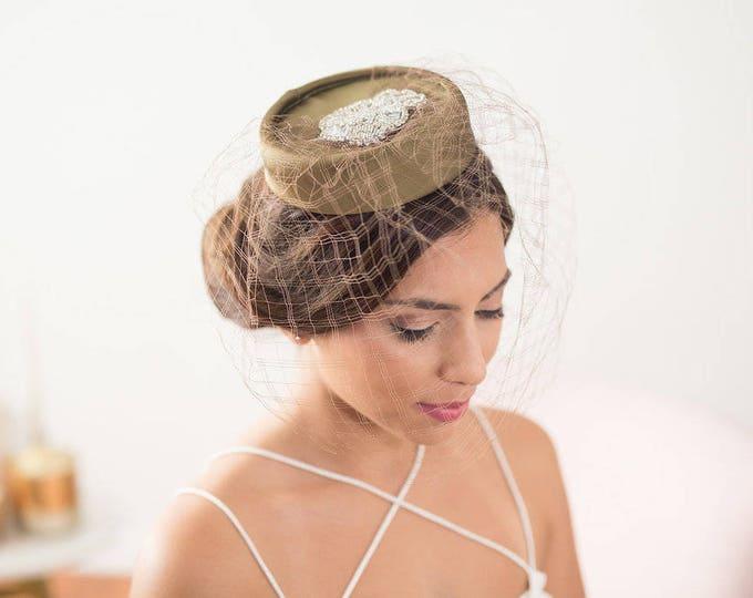 Olive Green pillbox hat, factinator hat, green veil hat, green pillbox hat, bridal fascinator, birdcage veil hat, birdcage hat, mini hat