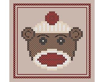 Sock Monkey Ornament - Original Cross Stitch Christmas Ornament Chart