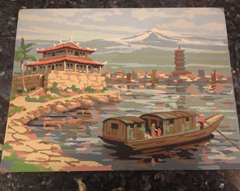 Vintage Paint by Number Chinese Boat Scene