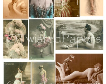 RISQUE FRENCH POSTCARDS, Naughty & Bawdy Photos, Instant Download, Vintage Digital Collage Sheet 002
