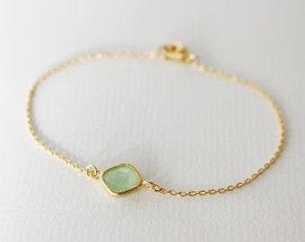 Gold framed dainty bracelet // mint green crystal bracelet