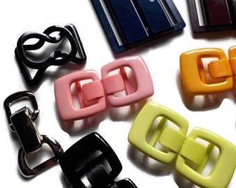 Vintage Colourful Plastic and Silvertone Metal Buckles...LOT 2