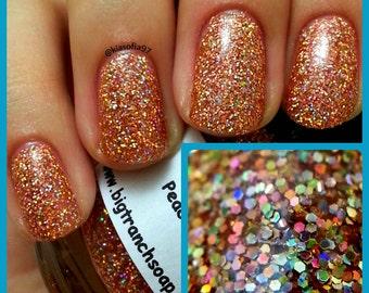 "Holographic Nail Polish - Micro Glitter Top Coat - FREE U.S. SHIPPING - ""Peach Bellini"" - Hand Blended - 0.5 oz Full Sized Bottle"