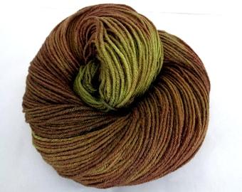 Hand dyed yarn, merino silk yarn, hand painted yarn, handpainted merino yarn,brown, fingering wt.,olive,MUDDY MEADOW,3.5oz/440yds, 100g/400m