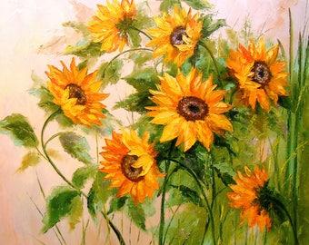 Sunflowers  Sunflowers art, flowers painting, nature, original oil art,great art,painting,impressionism,bright,beautiful,gift, wall decor,
