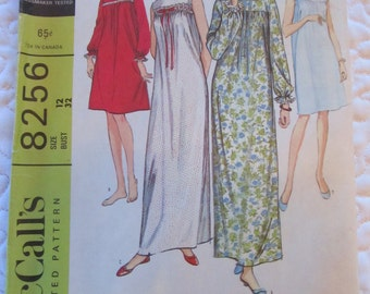 vintage MISSES NIGHTGOWN in Two Lengths --  McCalls 8256 (1965) --  Size 12