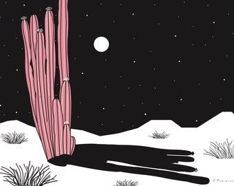 Retro Cactus Print; Night