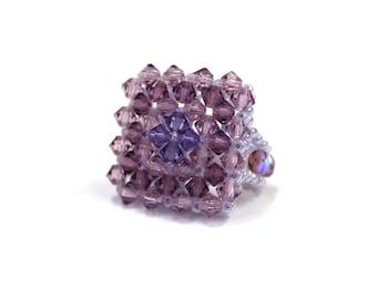 Swarovski Crystal and Pearl ring size unique elastic - purple