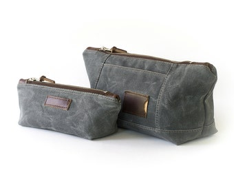 Personalized Toiletry Bag Set: Travel Cosmetic Bags, Waxed Canvas, Slate Gray - No. 317 & No. 275 (Made in the USA) FREE Domestic SHIPPING