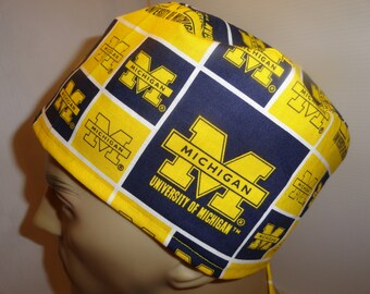 Men's  scrub hat, surgical hat, chemo hat, University of Michigan, yellow, navy, ties in back, cotton , Sahalee style, FREE US SHIPPING