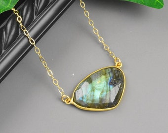Labradorite Necklace Gold Labradorite Pendant Necklace - Bezel Pendant Necklace - Gray Gemstone Necklace - Gemstone Jewelry for Women