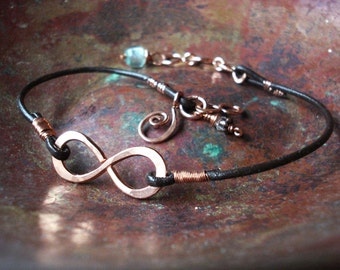 Copper Infinity to Eternity Unisex Leather Bracelet or Anklet With Recycled Copper NEW Bead Choices