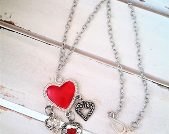 4 Hearts metal pendant necklace - red heart jewelry - metal red hearts pendant - Valentines jewelry - rustic metal heart charms necklace