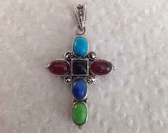 Gemstone Cross Double sided Sterling Silver Pendant