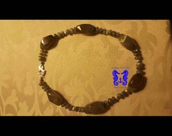 Agate, labradorite and silver necklace.