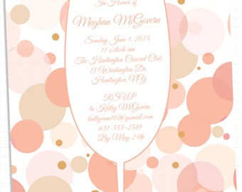 Bubbles and Bliss Champagne Bridal Shower Invitations
